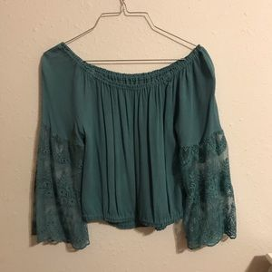 Forever 21 teal crop blouse